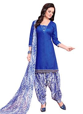 Blue Blended Cotton Patiala Suit