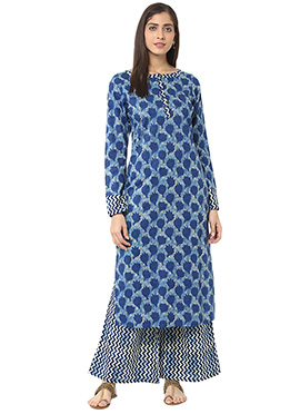 Blue Blended Cotton Printed Palazzo Set