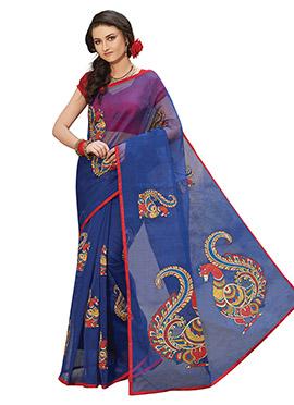 Blue Blended Cotton Saree