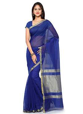 Blue Blended Cotton Saree
