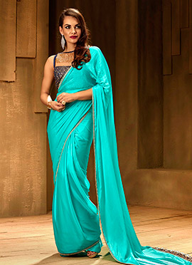 Blue Border Saree N Sequins Embroidered Blouse