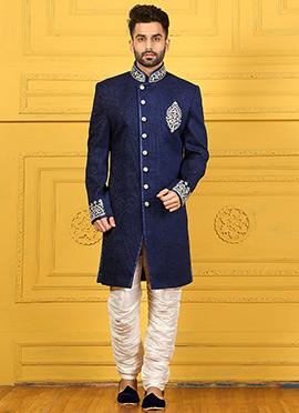 Blue Breech Style Achkan Sherwani
