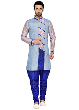 Blue Breeches Style Indowestern Sherwani