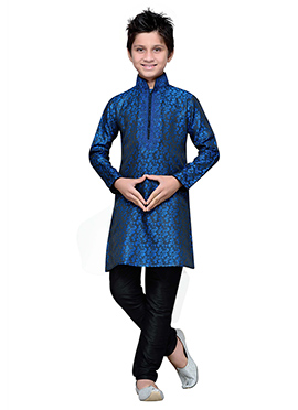 Blue Brocade Embroidered Boys Kurta Pyjama