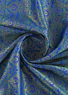 Blue Brocade Fabric