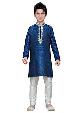 Blue Brocade Hand Work Embroidered Boys Kurta Pyja