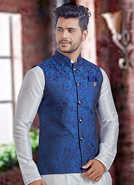 Blue Brocade Nehru Jacket