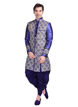 Blue Brocade Patiala Style Sherwani