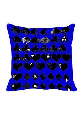 Blue Cards Cushion Cover