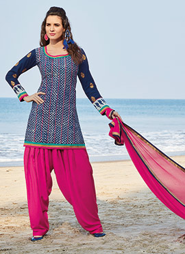 Blue Chanderi Cotton Patiala Suit