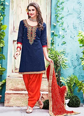 Blue Chanderi Cotton Salwar Suit
