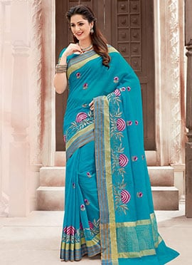 Blue Chanderi Cotton Saree