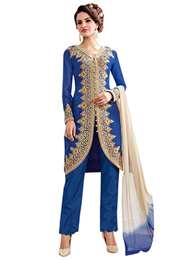 Blue Chanderi Cotton Straight Pant Suit