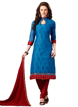 Blue Chanderi Silk Straight Suit