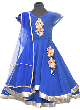 Fayon Blue Chiffon Anarkali Kids Dress