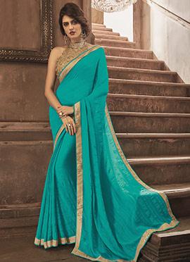 Turquoise Blue chiffon Border saree
