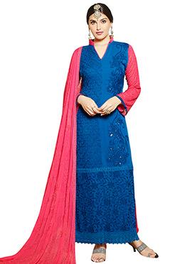 Blue Chiffon Embroidered Straight Pakistani Suit