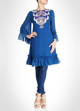 Blue Chiffon Embroidered Tunic