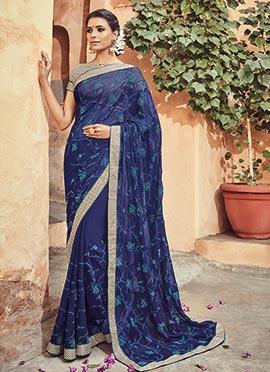Blue Chiffon Saree