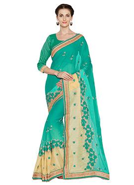 Turquoise Green Chiffon Saree