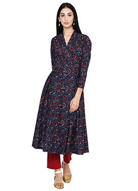 Blue Cotton Anarkali Shape Kurti