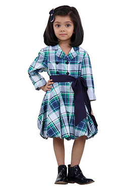Blue Cotton Blend Kids Dress