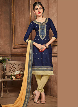 Blue Cotton Churidar Suit