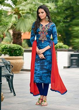 Blue Cotton Churidar Suit