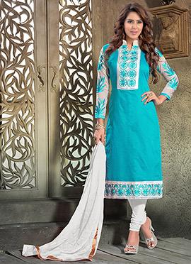 Blue Chanderi Churidhar Suit