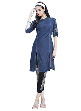 Blue Cotton Denim Kurti