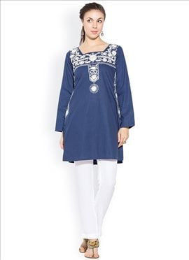 Blue Cotton Embroidered Plus Size Kurti