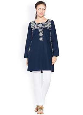 Blue Cotton Floral Embroidered Kurti