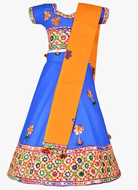 Blue Cotton Kids Chaniya Choli Set