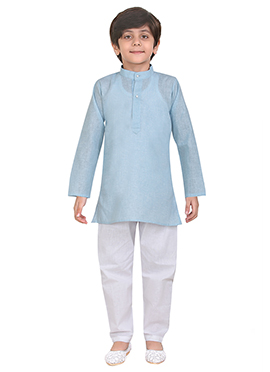 Blue Cotton Kids Kurta Pyjama