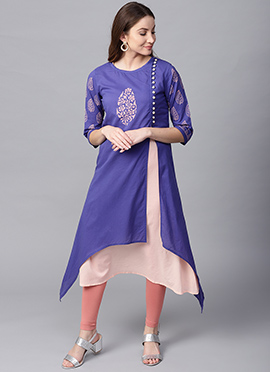 Blue Cotton Knee Length Kurti