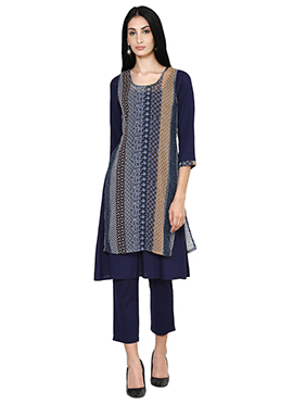 Blue Cotton Layered Kurti