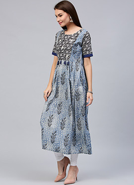 Blue Cotton Long Anarkali Kurti