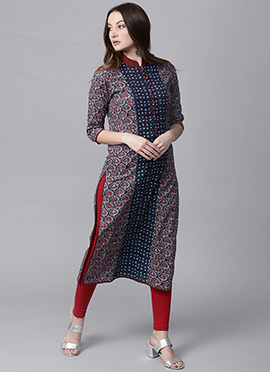 Blue Cotton Long Kurti