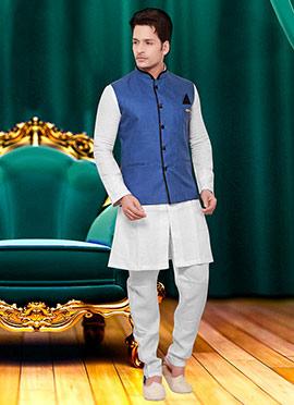 Blue Cotton Nehru Jacket