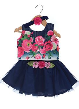 Blue Cotton Net Kids Dress