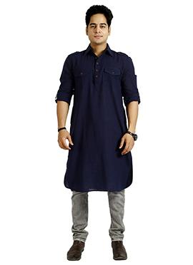 Blue Cotton Pathani Set