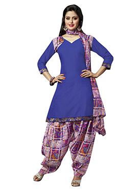 Blue Cotton Semi Patiala Suit