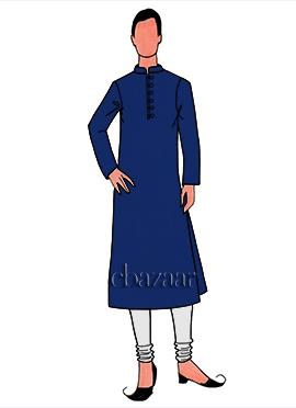 Blue Cotton Plain Kurta Pyjama Set