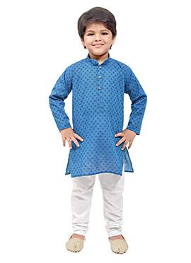 Blue Cotton Printed Kids Kurta Pyjama