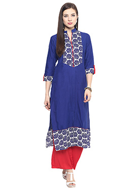 Blue Cotton Printed Kurti
