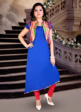 Blue Cotton Rayon Anarkali Suit