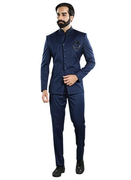 Blue Cotton Rayon Bandhgala Suit