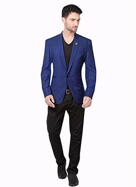 Blue Cotton Rayon Blazer Jacket