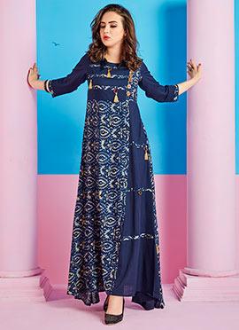 Blue Cotton Rayon Dress