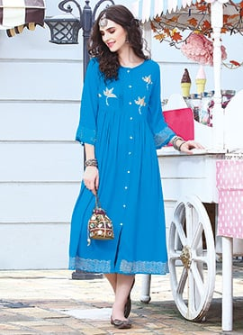 Blue Cotton Rayon Kurti